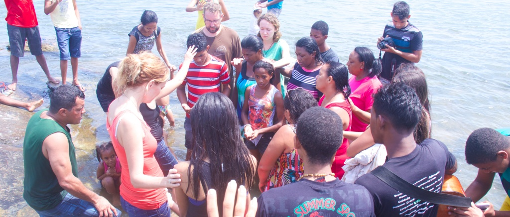 Nine people were baptized at the river this morning.